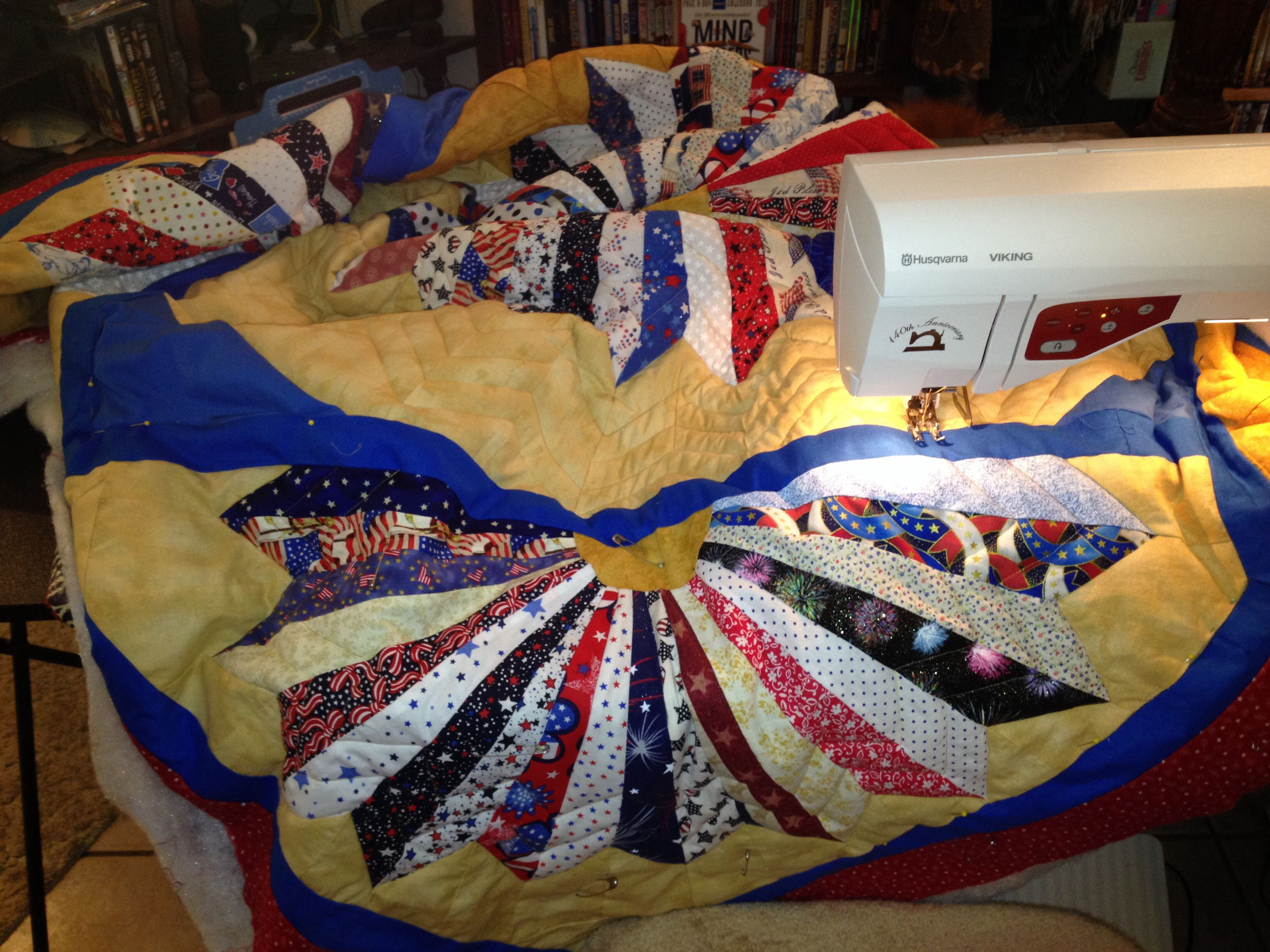 Quilting, I had to rip out about a quarter of the quilting and start ...