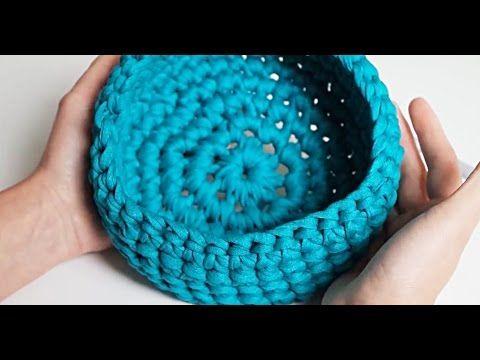 Tuto Facile Panier Au Crochet En Zpagetti Youtube Crochet