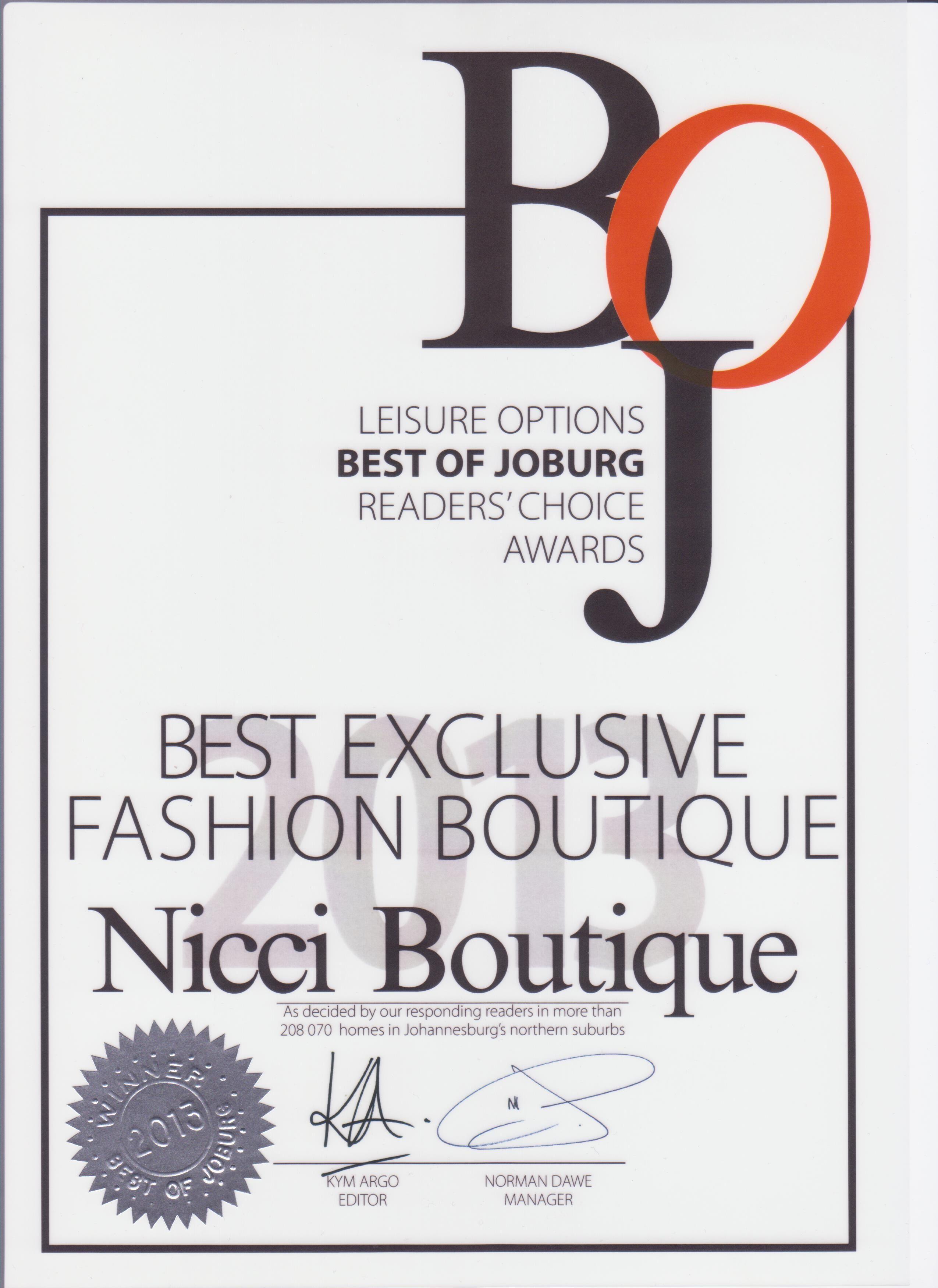 #BestOfJoburg #BestBoutique 2013