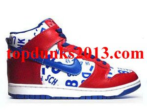 Buy Limited Newspaper Edition Red sport royal White High Top Nike Dunk 31dc68396
