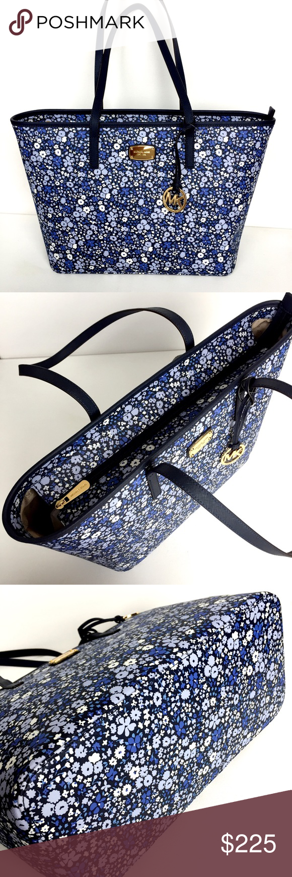 New Michael KORS Navy Floral Large Tote Floral (Navy) Top Zip Closure Faux leather (grainy vinyl) ge...