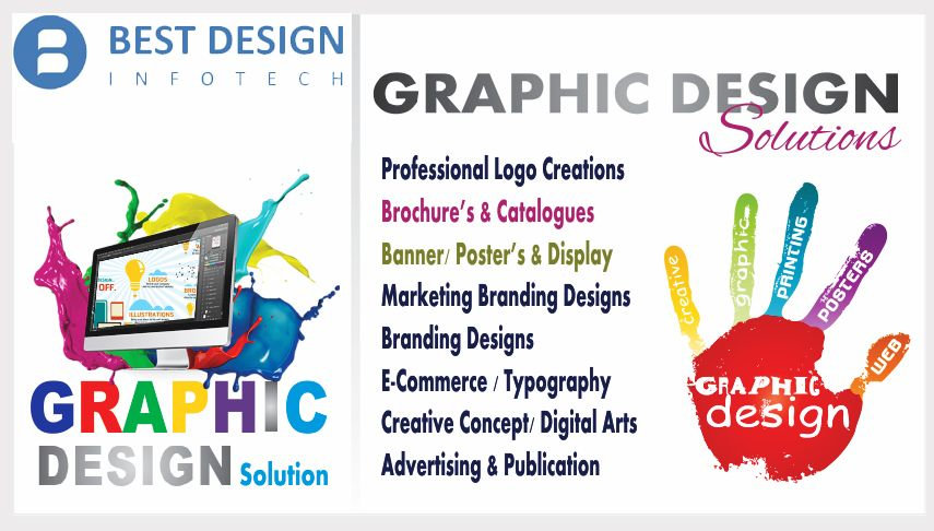 Graphic design consists of creating graphic across various platforms like digital and print. Graphic design gives your company its corporate identity by the way its Logos, Business cards, letter heads and brochures are   designed.