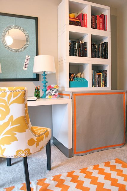Office Playroom Combo Diy Skirted Tables To Hide Printer Files Junk I Love This Room