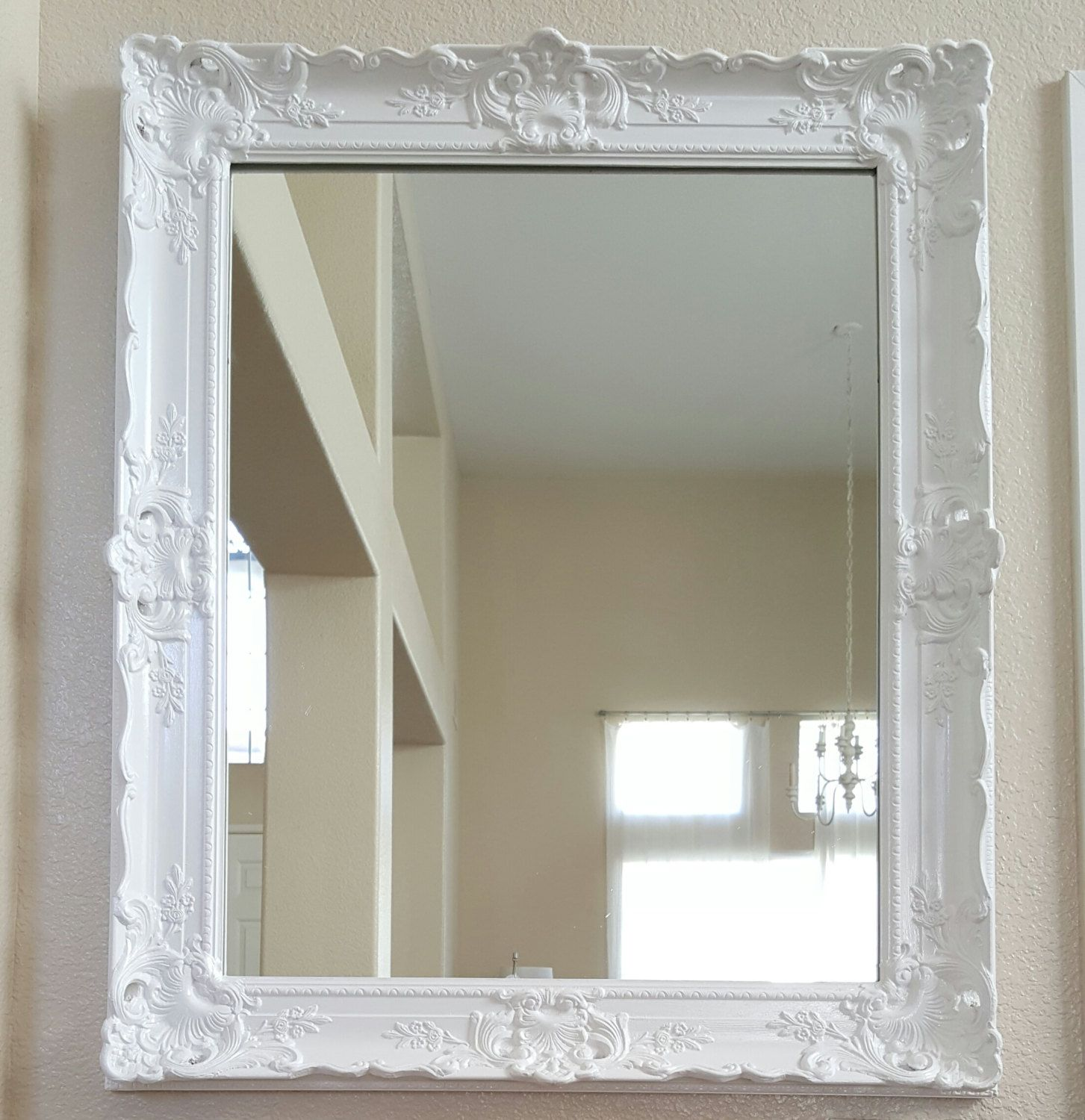 White Antique Ornate Framed Mirror By Chic Home Made In The U S A Modern Glam Ornate Wood Frames Wood Framed Mirror White Mirror Frame