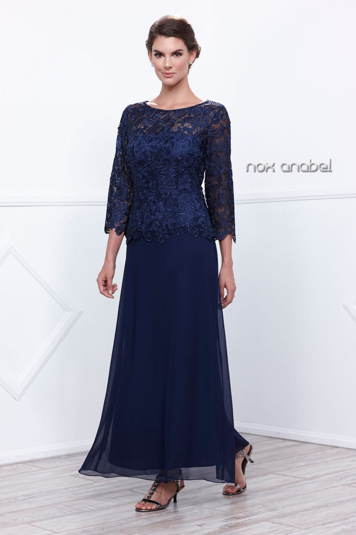 Long lace bodice dress with sleeves by nox anabel lace
