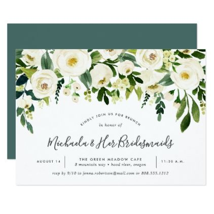 alabaster floral bridesmaids brunch invitation