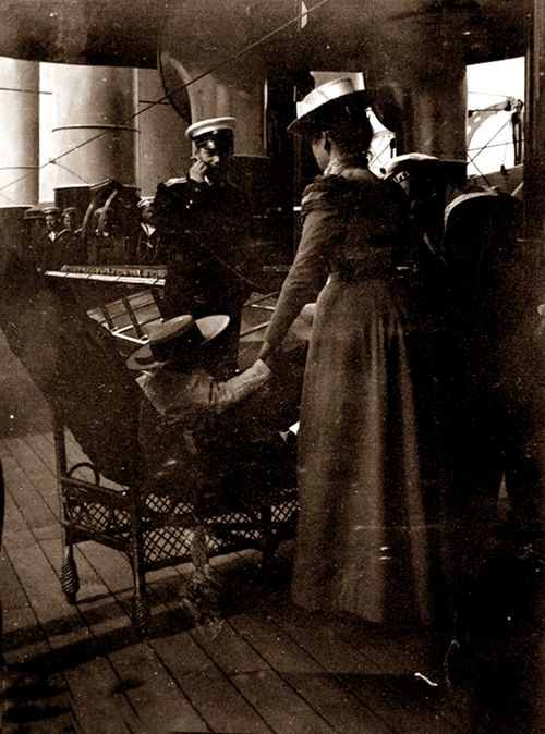Tsar Nicholas II with son Alexei, a nanny and his sailor-nanny.