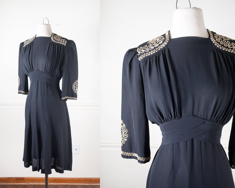 1940s Day Dress Vintage 40s Dress Little Black Dress Etsy Clothes Vintage 40s Dress 1940s Fashion [ 2400 x 3000 Pixel ]