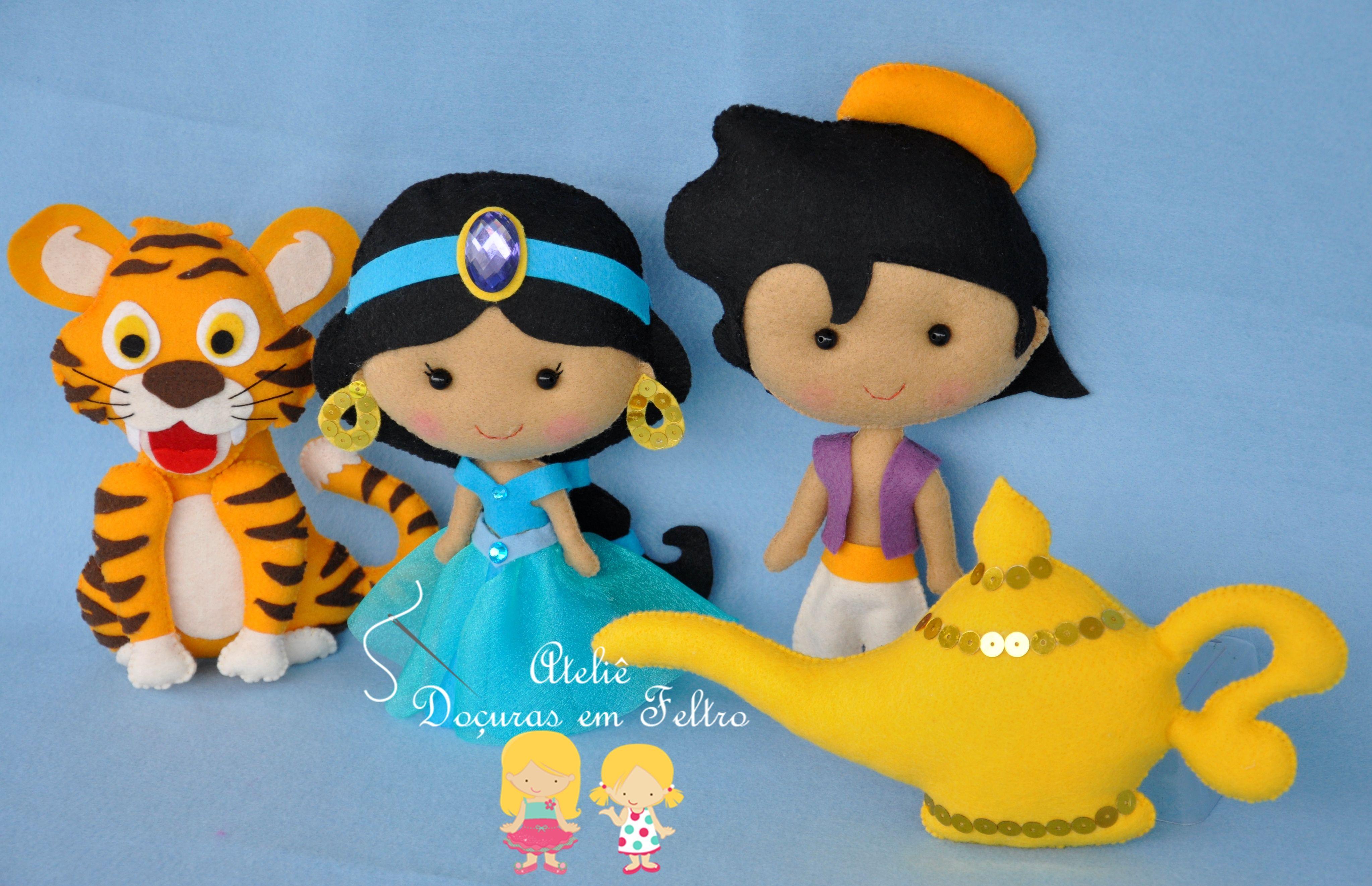 Jasmine aladim tigre e l mpada em feltro bonecas - Tigre de jasmine ...