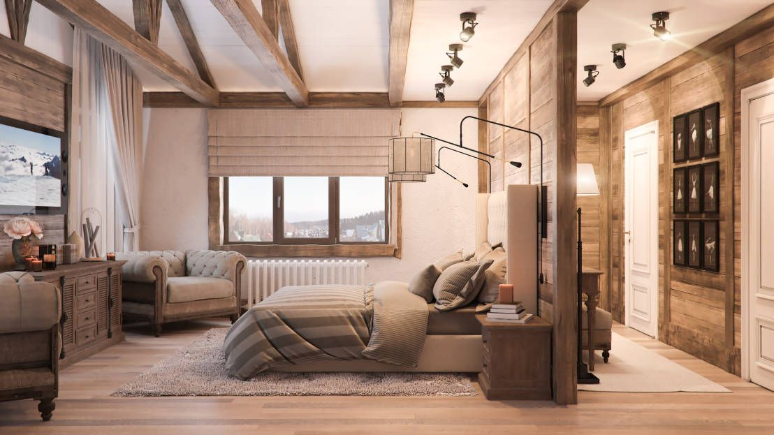 Спальная в стиле шале  Schlafzimmer im Landhausstil von Шабалин - schlafzimmer im landhausstil