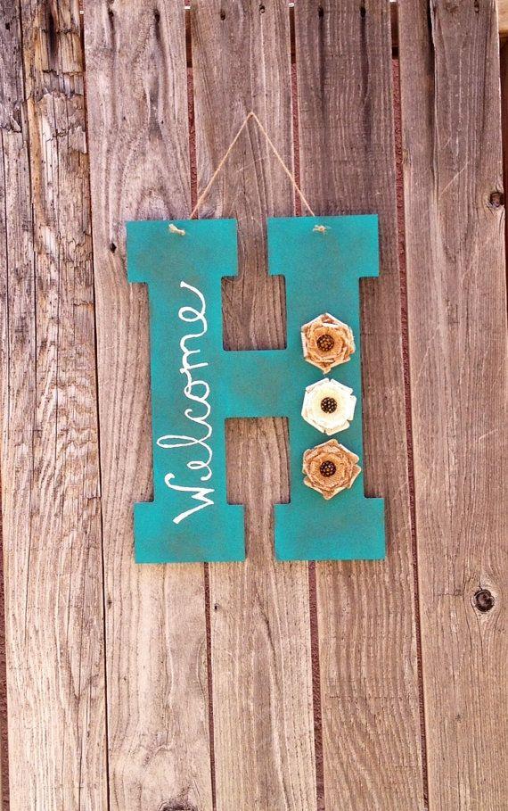 distressed monogram welcome sign front door hanging by cozycasa 1500