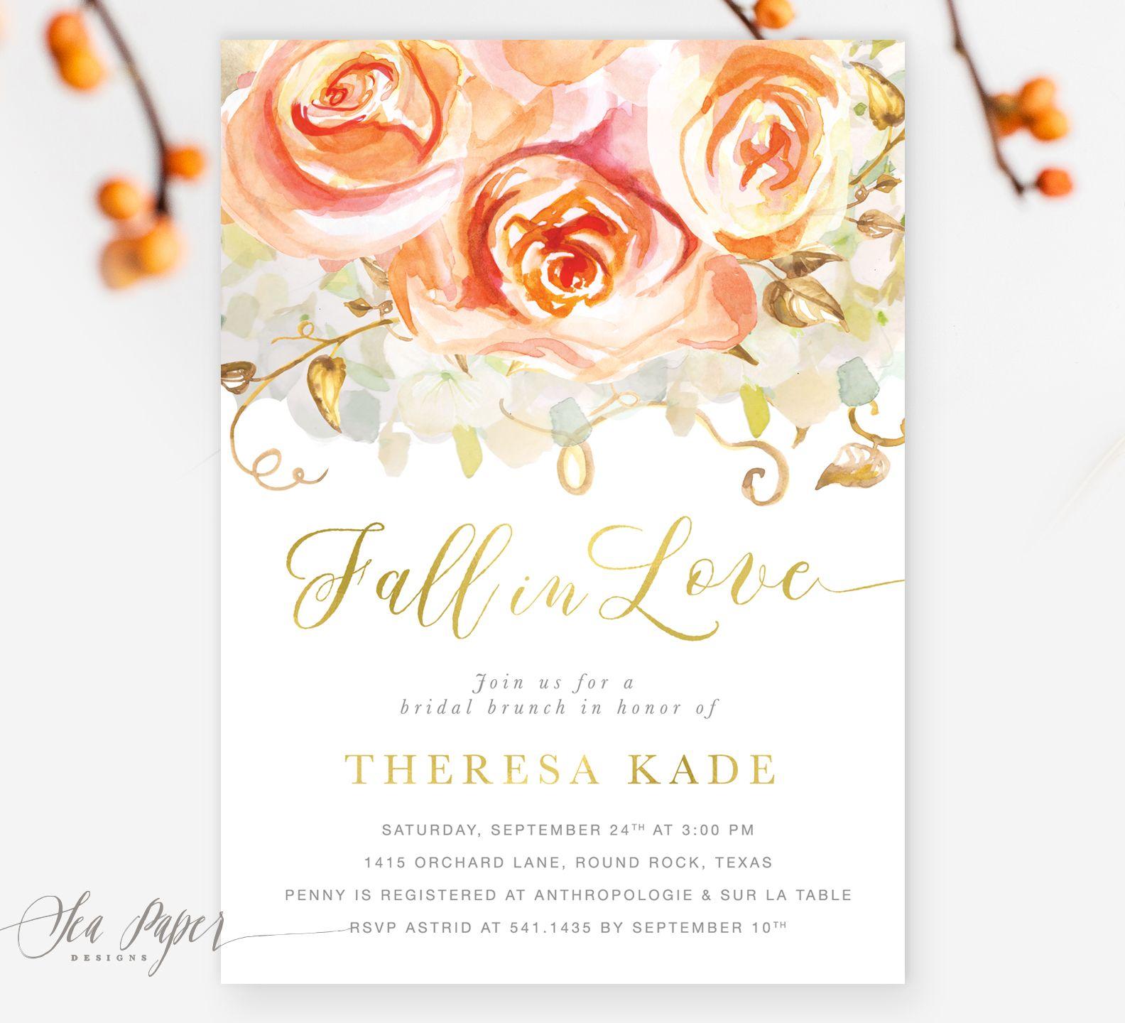 Fall in Love Peach Roses & Hydrangeas Bridal Shower Invitation ...