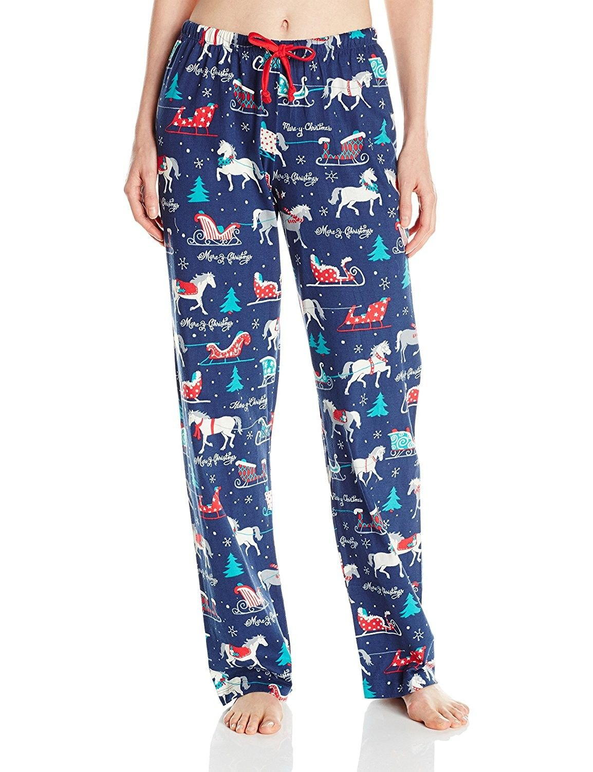 7505ebd950 Women s Holiday Jersey Pajama Pants - Sledding Horses - C5125KXQ2PZ ...