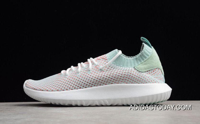 adidas Originals Tubular Shadow Primeknit Trainers Footwear WhiteAsh GreenTrace Scarlet