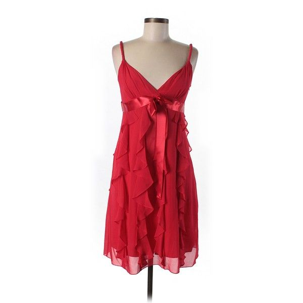 88d25d88bdc Pre-owned BCBGMAXAZRIA Silk Dress Size 6  Red Women s Dresses ( 90) ❤ liked  on Polyvore featuring dresses