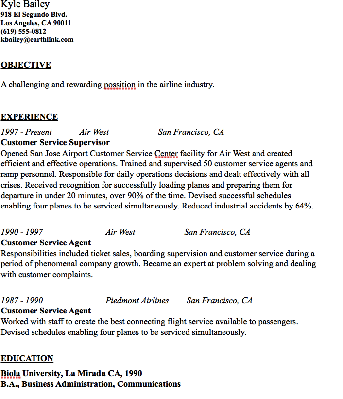 Airline Customer Service Agent Sample Resume Airline Industry Resume Sample  Httpresumesdesignairline .