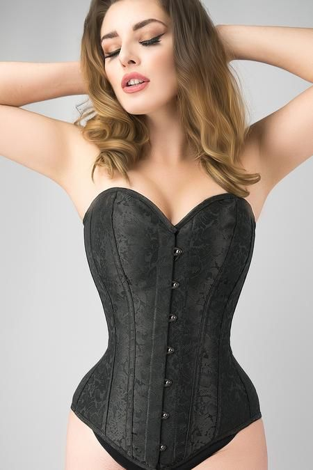 472c12abcf7 Waist Taming Classic Black Overbust Corset With Hip Gores - 20 in ...