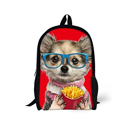 HUGSIDEA Cute Pet Puppy Kids Travel Backpack Funny Pomeraniacn Print School  Book Bag for Girls     More info could be found at the image url. 76d9cdb588e4e