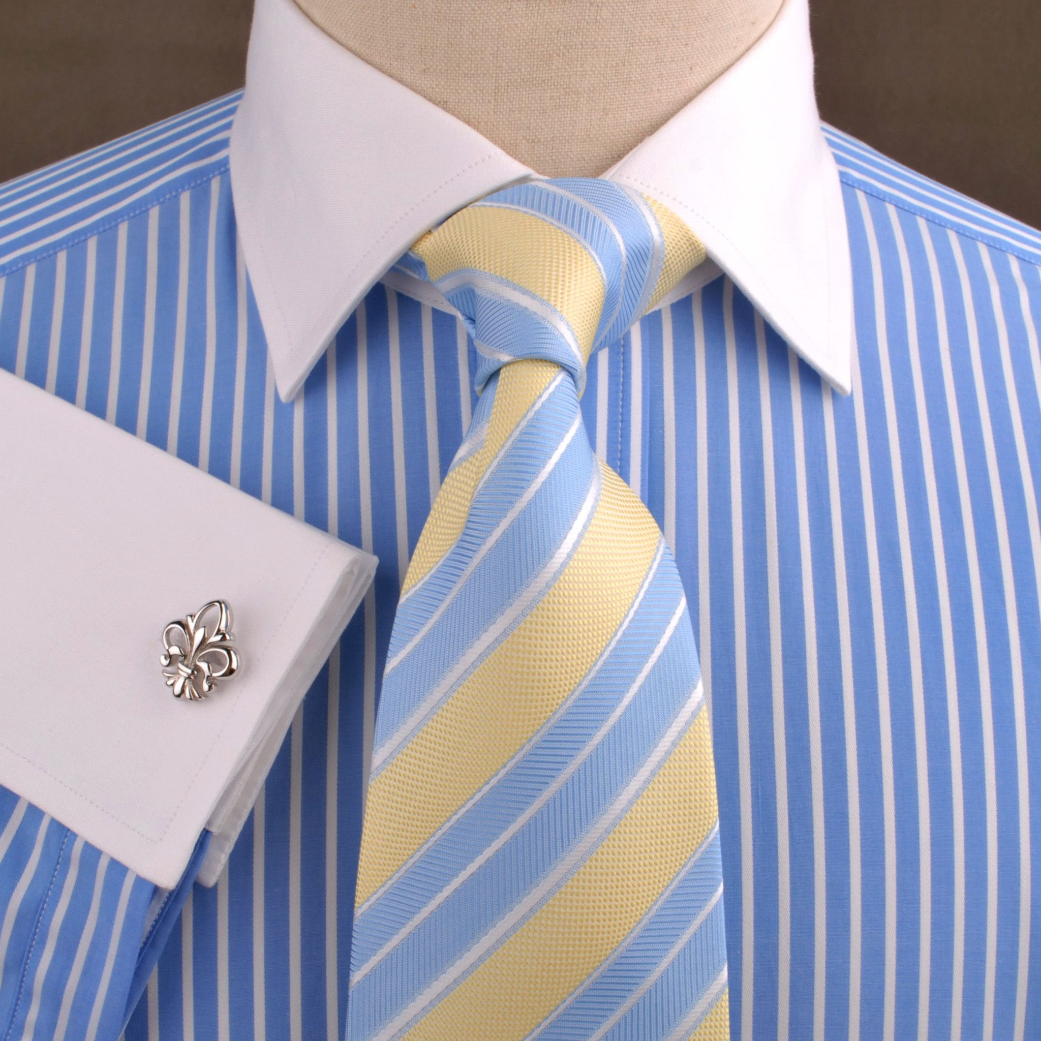 791819b6b9cb4d Blue Striped Dress Shirt White Collar in Formal Business French Cuff ...
