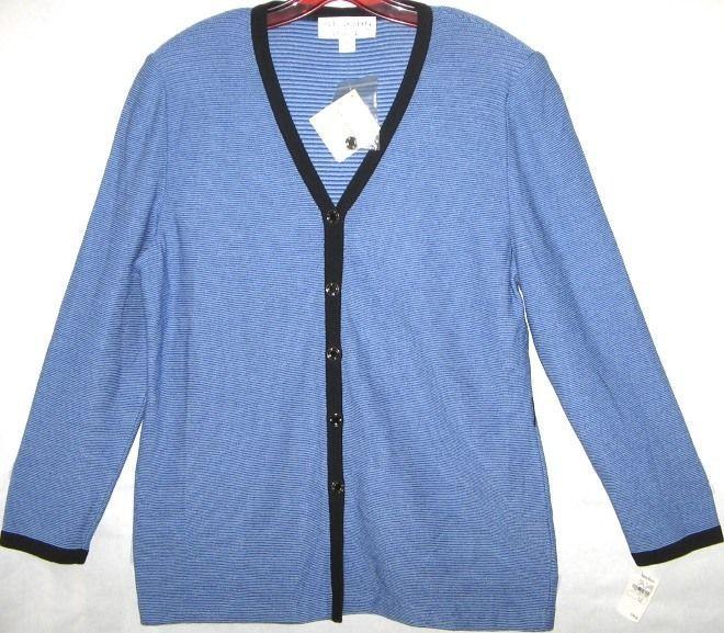ST JOHN Collection Santana Knit Jacket Crystal Blue Cardigan Blazer Suit USA 12 #StJohn #BasicJacket