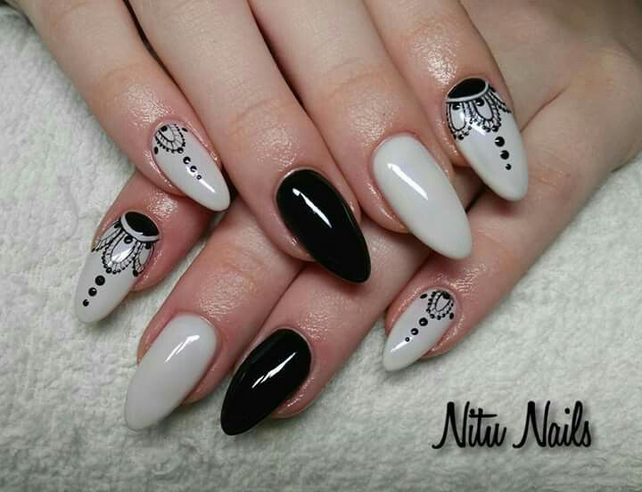 White black nails
