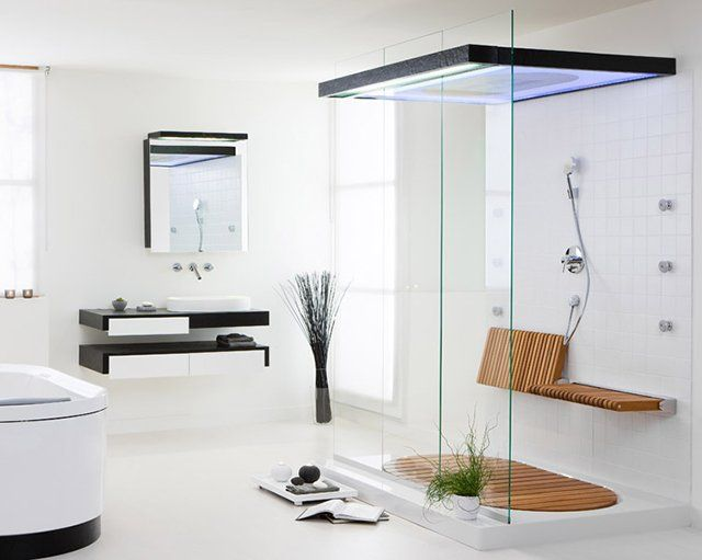 Folding teak shower bench modern showerbathroom also fancy bathroom pinterest