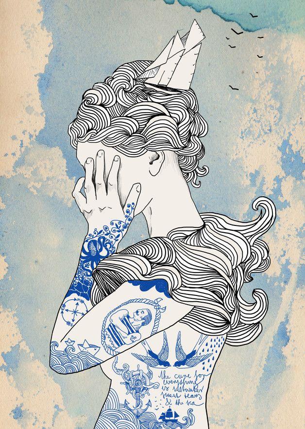 """Photo of Illustriertes Poster """"Seemanns Tochter"""", Kunst / illustrated art print, inked sa…"""