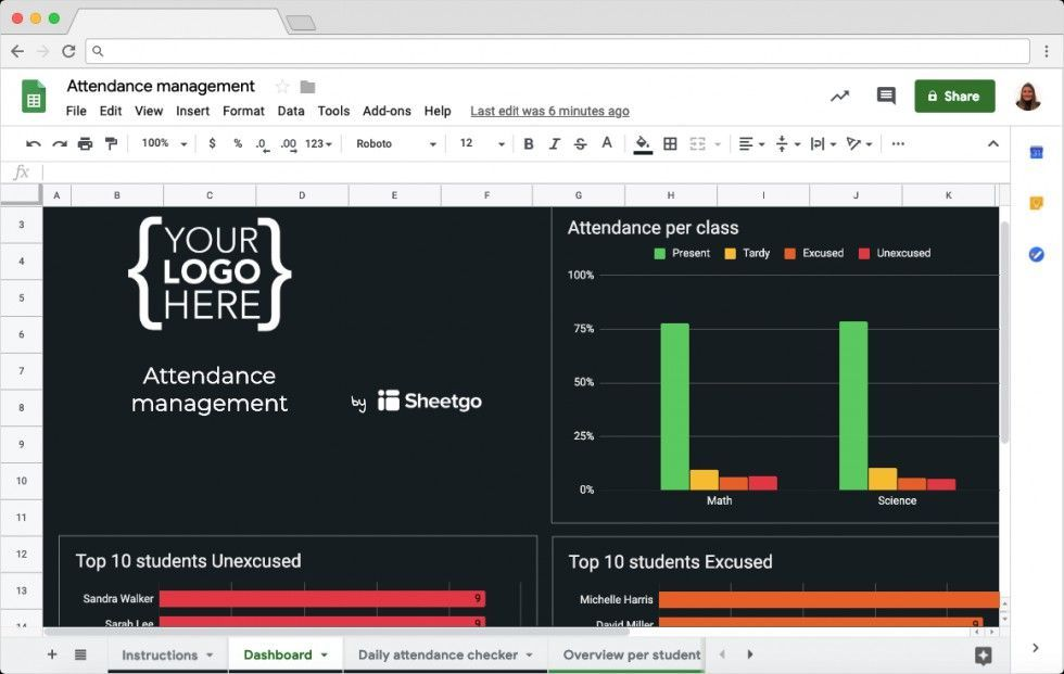 Free Attendance Management Template In Google Sheets Education Templates Spreadsheet Template Attendance Tracker