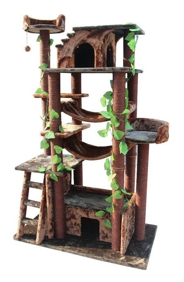 "Amazing 46x25x78"" Kitty Cat Tree Condo Scratching Post Huge Cat Kitten Homes | eBay"