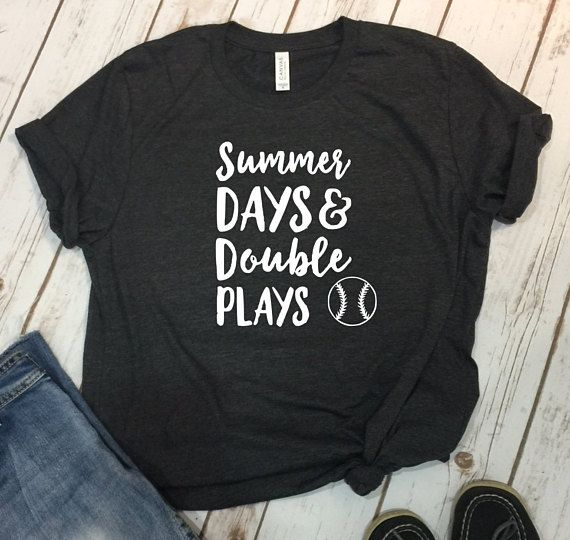 Photo of Baseball Mom Shirts, Softball Mom Shirts, Mom Shirt, Summer Days Double Plays, Softball Shirt, Baseball Mom, Womans Baseball Shirt