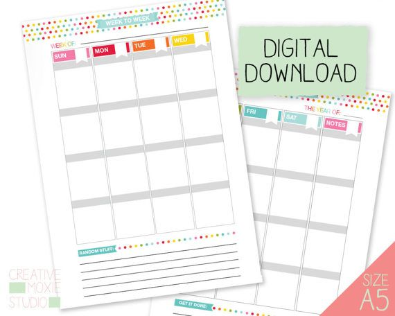 A Printable Calendar  Printable Weekly Calendar  Digital Weekly