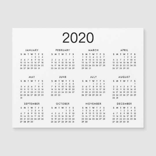 Classic Black And White 2020 Calendar Magnet Zazzle Com Magnetic Calendar Printable Calendar Template Magnetic Business Cards