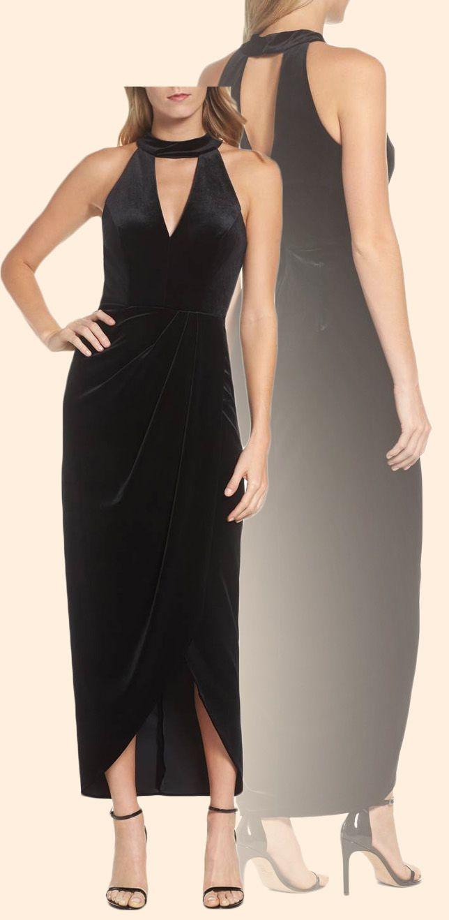 Halter V Neck High Low Velvet Cocktail Dress Little Black Dress ...
