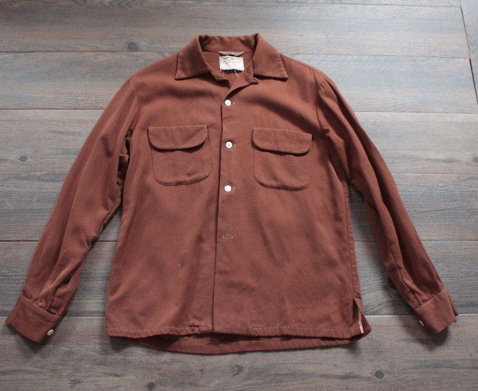 Vintage 1950 S Ricky Shirt 50s Brown Wool Work Shirt 1950s Sportswear Workwear Chore Shirt Loop Collar Flap P Work Shirts Work Wear Vintage Outfits