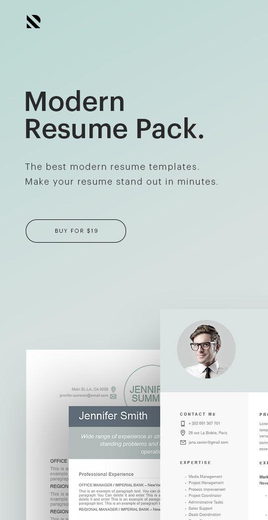 Modern Resume Pack - the best modern resume templates - #resumeway - modern resume templates word