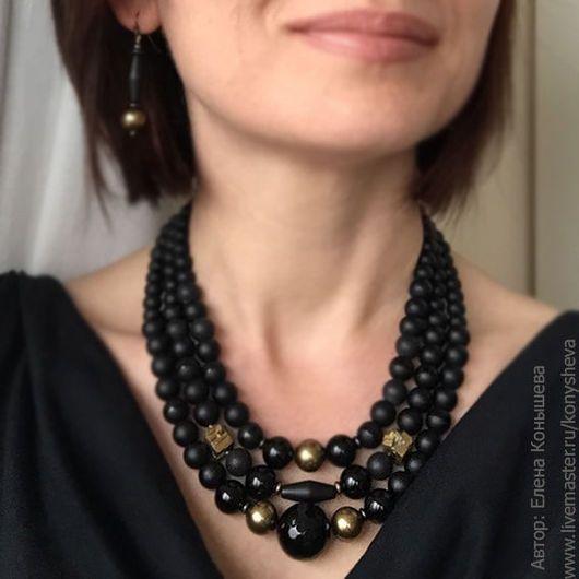 black beaded necklace Multi-row handmade necklace