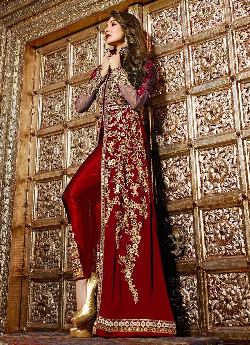 malaika arora maroon straight pant suit | pakistani dresses