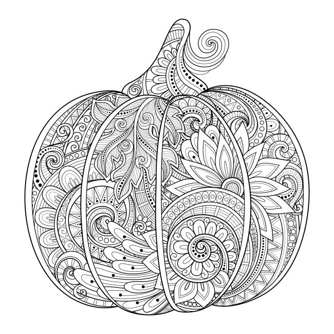 12 Fall Coloring Pages for Adults Pumpkin art designs