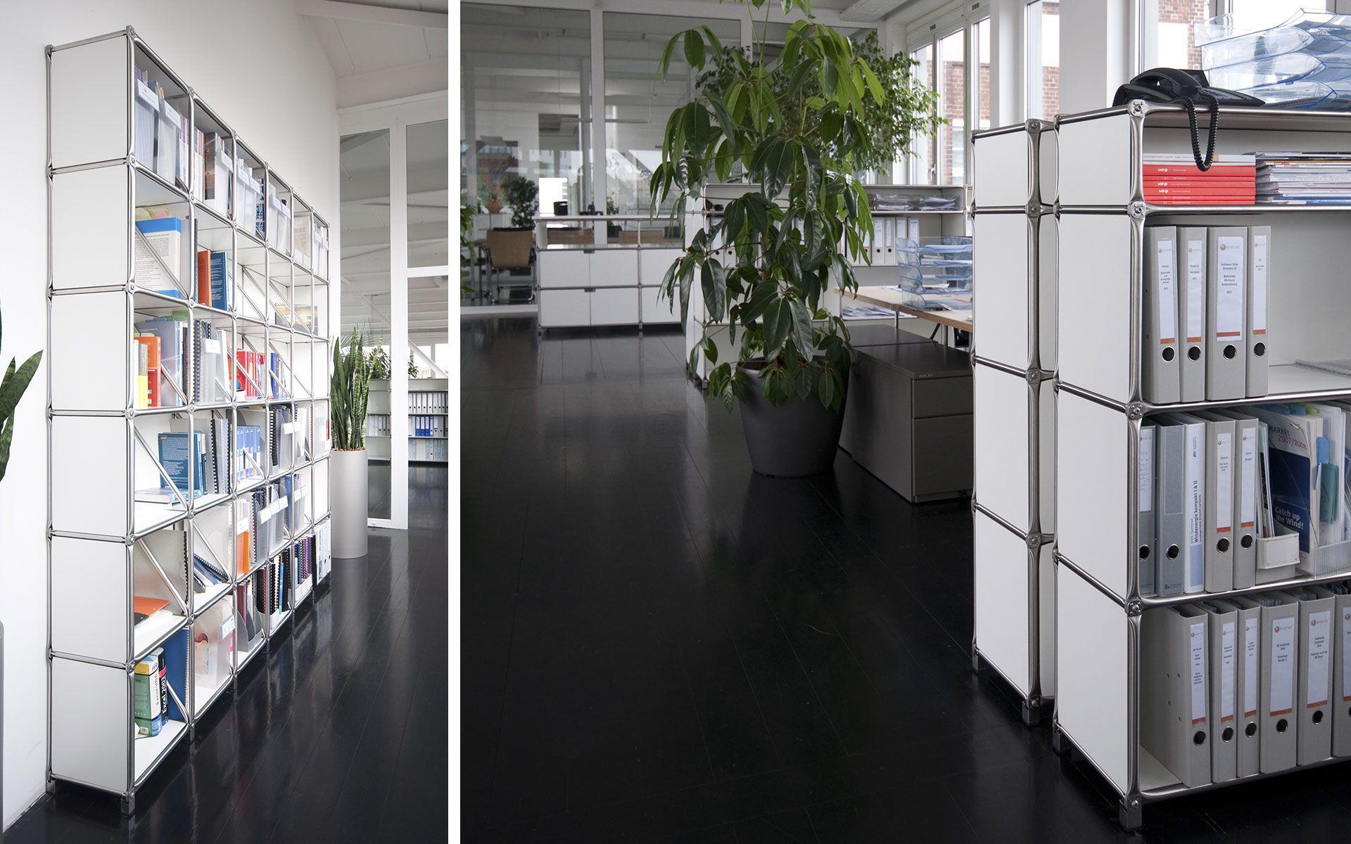Modulare Möbel für das Büro: Mit System 180 werden Empfangstresen, Schreibtische und Regale mit einem Einrichtungssystem abgedeckt. | System 180