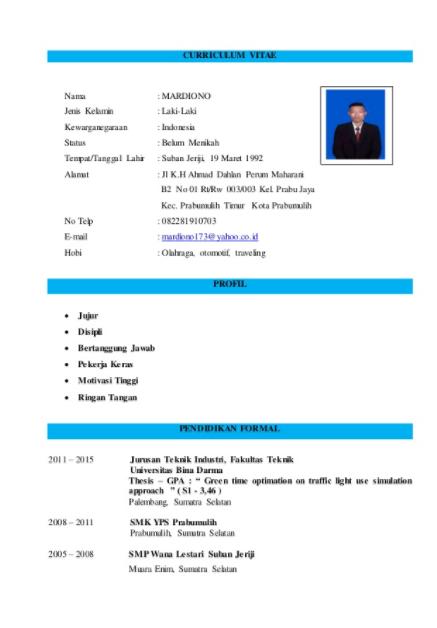 Contoh Daftar Riwayat Hidup / Curriculum Vitae (CV) Terlengkap