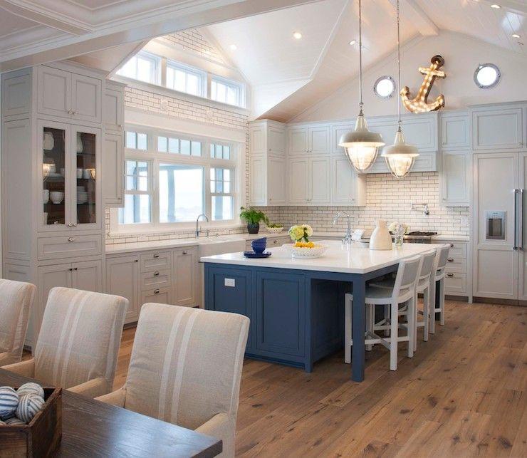 Light Gray Kitchen Cabinets   Cottage   Kitchen   Pratt And Lambert Marble  Vein   Coastal