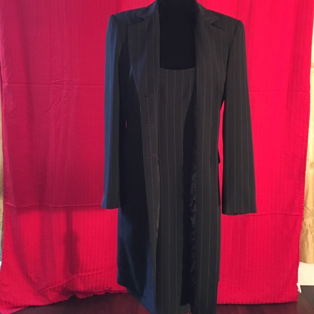Pinstriped dress suit long blazer long blazer and products