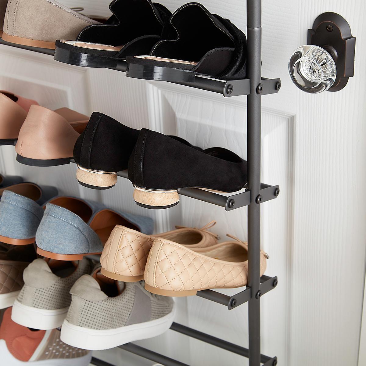 gunmetal 36 pair over the door shoe rack the container on shoe rack wooden with door id=64890