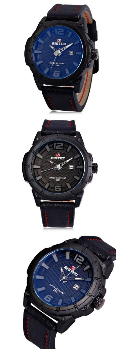 486ee59a8044 BISTEC 2606 Male Quartz Watch BLACK CASE BLACK BAND BLACK SCALE-10.65  Relojes