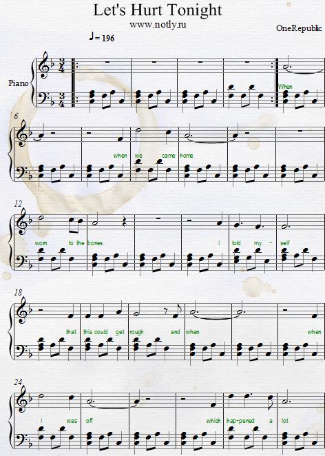 OneRepublic — Let's Hurt Tonight Download PDF Piano Sheet Music