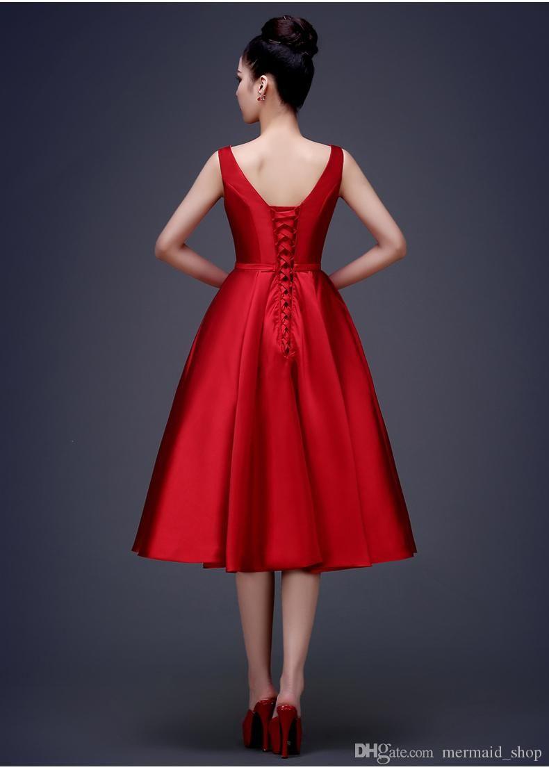 Sexy sleeveless high quality satin prom dress mid calf length aline