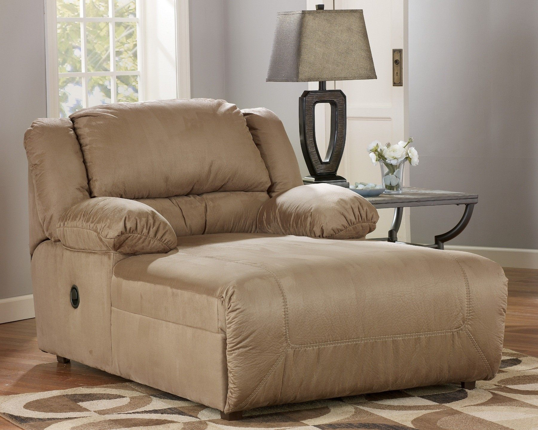 Best Indoor Oversized Chaise Lounge Hogan Mocha Reclining 400 x 300