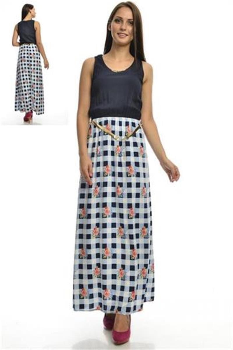 Modelleri ve elbise fiyatlar modasor com pictures to pin on pinterest - Lacivert Izgili Uzun Elbise Modelleri Ve Uygun Fiyat Avantaj Yla Modabenle