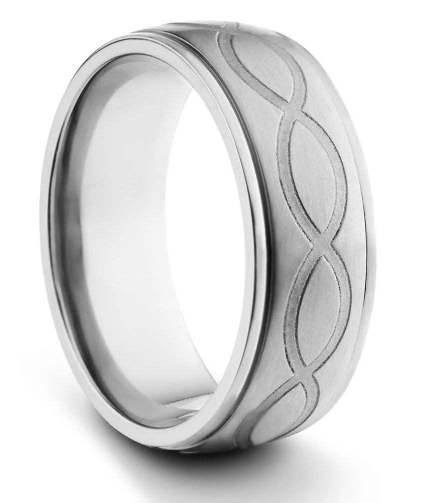 Cute MM Titanium Mens Brushed Wedding Band Ring w Engraved Infinity Design