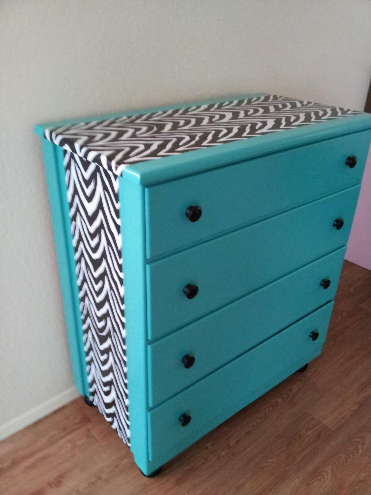 4 Drawer Dresser Repainted With A High Gloss Aqua Paint